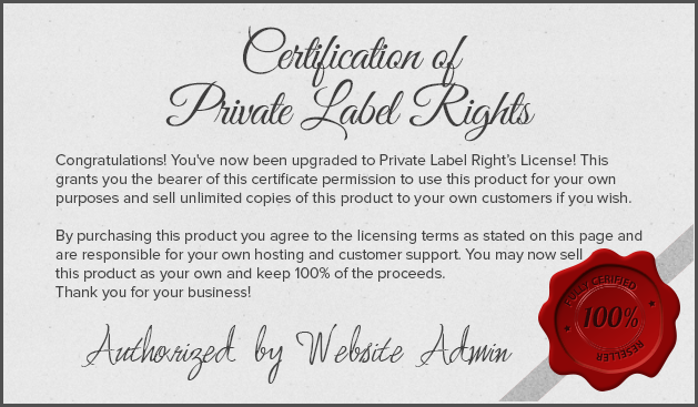 Private LAbel Rights Cert