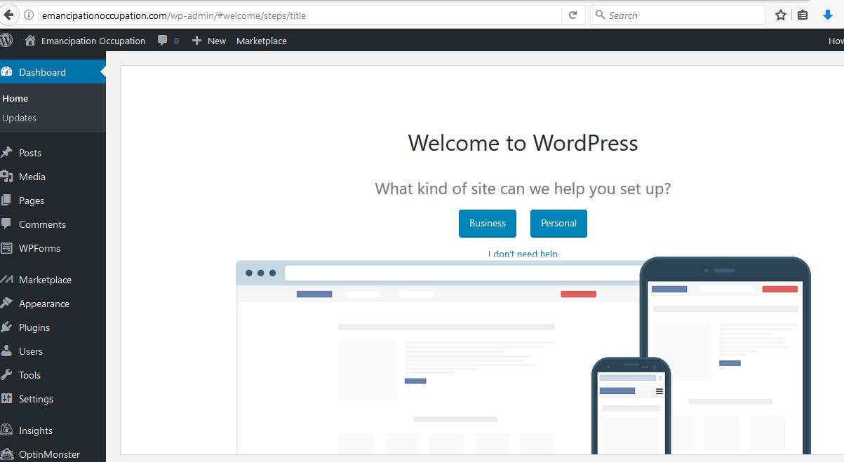 starting a website using wordpress