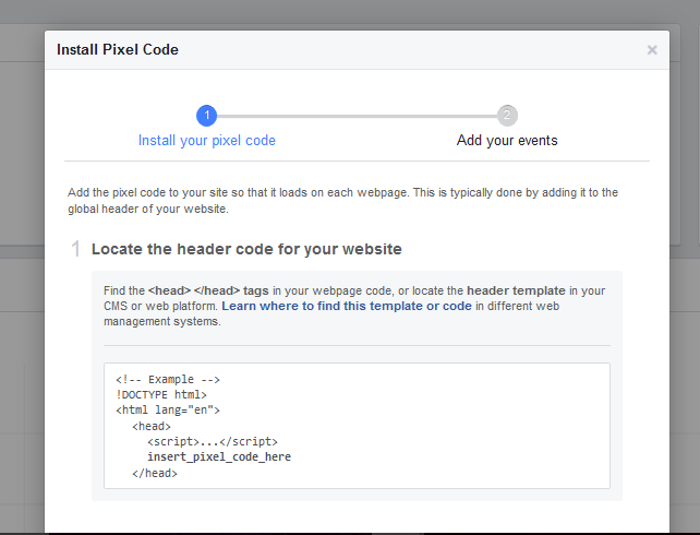 lcoate header - grab pixel and active pixel - how to setup the facebook pixel 2018